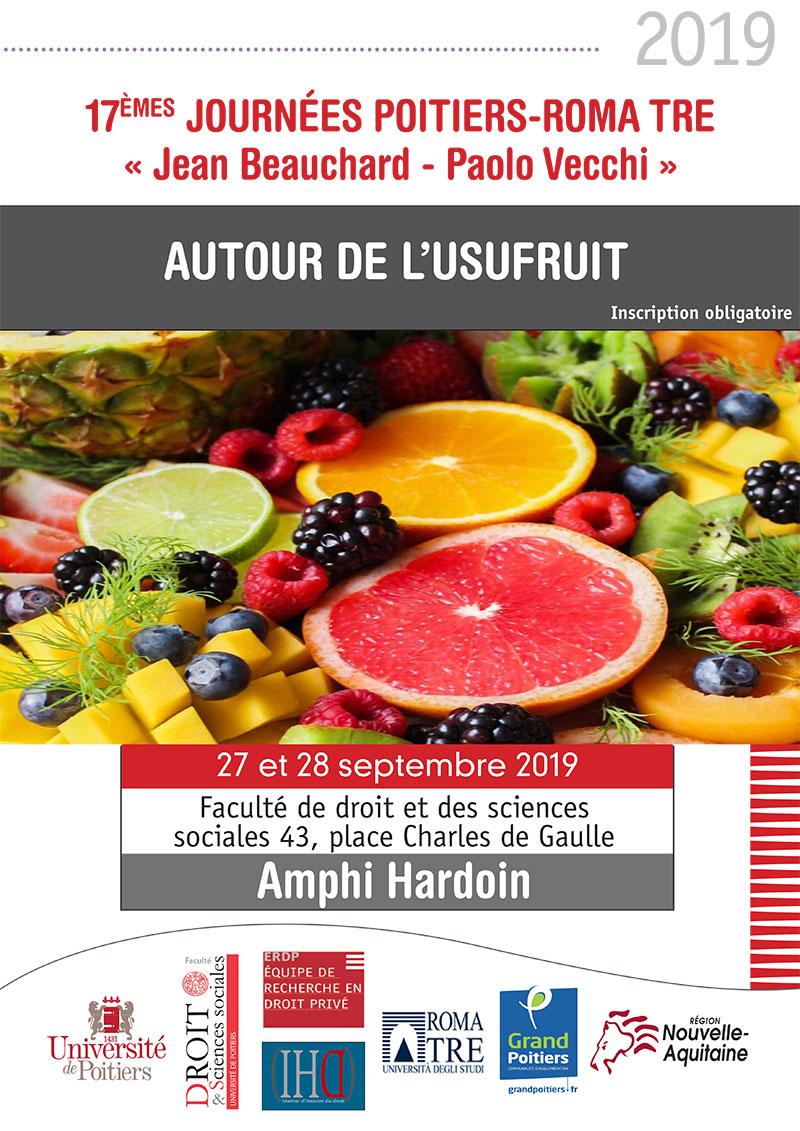 Autour de l'usufruit : 17es Journées Poitiers-Roma-Tre « Jean Beauchard - Paolo Vecchi »